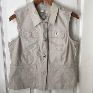 CHRISTOPHER & BANKS: light khaki color vest Size M